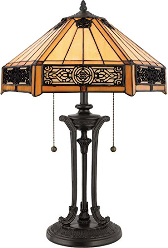 Quoizel TF6669VB Indus Tiffany Table Lamp, 2-Light, 120 Watts, Vintage Bronze (23