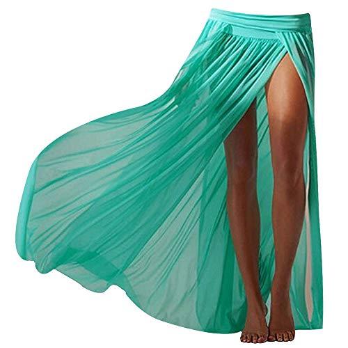 Adela Boutique Sexy Mesh Maxi Skirt Beach Cover ups Slit Gauze Wrap Skirts for Women (Green) ()