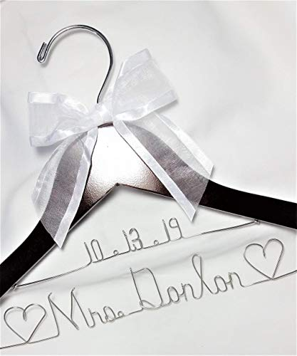 Bride Wedding Dress Hanger - Dark wood or White wood hanger with notches - choice of 12 Bow Colors - Personalized Bride Name Silver wire - With or Without Wedding Date, Bride Bridesmaid gift