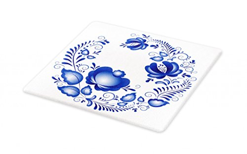 (Lunarable Blue Floral Cutting Board, Ornamental Blossoms with Swirls Traditional Russian Gzhel Motif, Decorative Tempered Glass Cutting and Serving Board, Small Size, Violet Blue and)