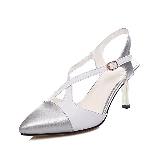 AmoonyFashion Womens Cow Leather Assorted Color Buckle Pointed-Toe Kitten-Heels Sandals Silver