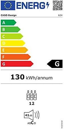 Caso WineSafe 12 - Enfriador de vino (Independiente, Negro, Negro, Vidrio, Acero inoxidable, GS, CE, 12 botella(s))[Clase de eficiencia energética A]