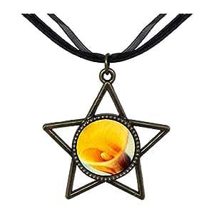 Chicforest Bronze Retro Style Yellow Calla Lily Five Pointed Star Pendant