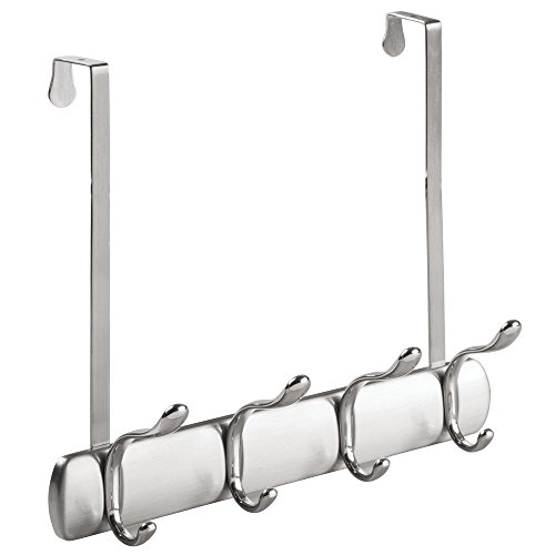 InterDesign Bruschia Over Door Storage Rack – Organizer Hooks for Coats, Hats, Robes, Clothes or Towels – 4 Dual Hooks, Brushed Nickel/Chrome