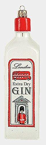 Pinnacle Peak Trading Company Bottle of London Extra Dry Gin Polish Glass Christmas Ornament Liquor (Extra Dry Gin)