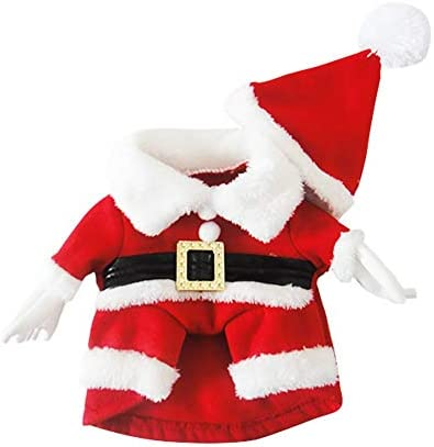 Disfraz de navidad para mascotas con gorro de papá Noel con capucha para Perro y gato 4