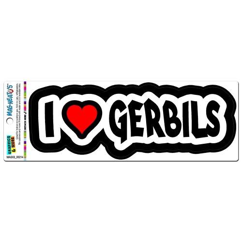 I Love Heart Gerbils Vinyl Magnet