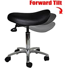 2xhome - Adjustable Saddle Stool Chair with Forward Tilting Seat for Clinic Hospital Pharmacy Medical Beauty Lab Exam Office Technician Physical Occupational Therapy Physician…