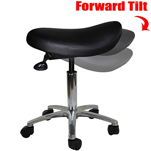 Ergonomic Backless Stool (2xhome - Adjustable Saddle Stool Chair with Forward Tilting Seat for Clinic Hospital Pharmacy Medical Beauty Lab Exam Office Technician Physical Occupational Therapy Physician with Wheels)