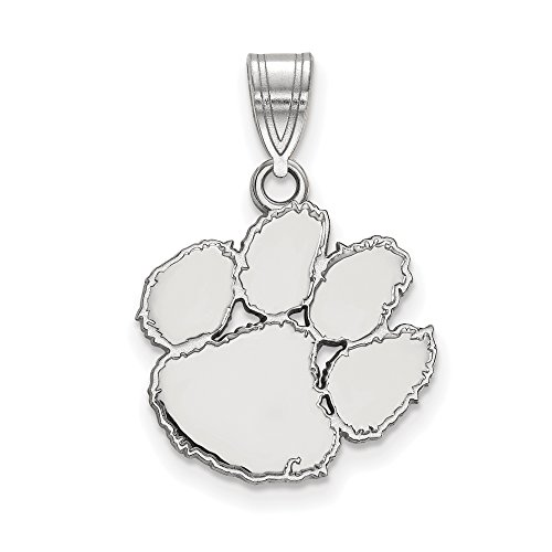 Clemson Medium (5/8 Inch) Pendant (14k White Gold) by LogoArt