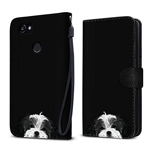 FINCIBO Case Compatible with Google Pixel 2 XL (6 inch) 2017, Protective Flip Canvas Wallet Pouch Case Card Holder TPU Cover for Pixel 2 XL 2017 (NOT FIT Pixel 2 5 inch) - Black White Shih Tzu ()