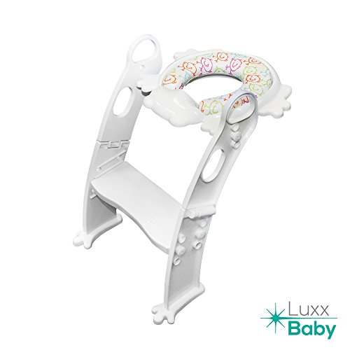 Kids potty toilet training seat and chair with cushion, toilet trainer, potty seat ladder with adjustable steps. Luxxbaby PCL1 - Potty Cushion Ladder (white) (Ladder Step Training)