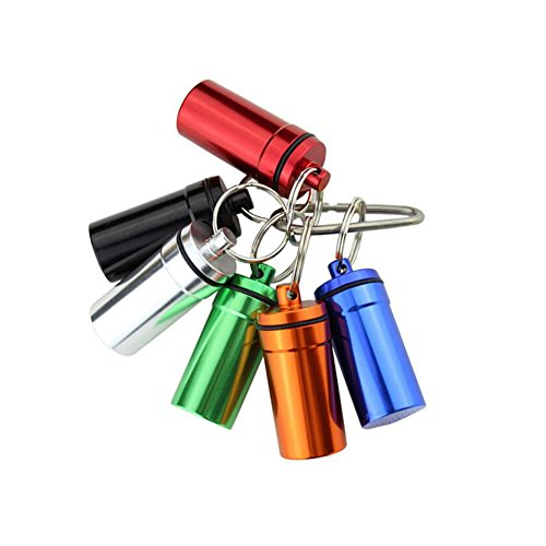 Set of 6 Waterproof Aluminum Metal Pill Box Case Organizer with Keychain - Outdoor Medicine Bottle Key Ring Small First Aid Drug Holder Pill Container