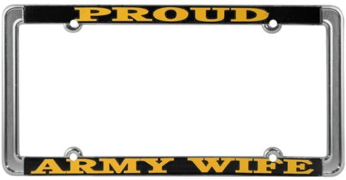Proud Army Wife Thin Rim License Plate Frame (Chrome Metal)