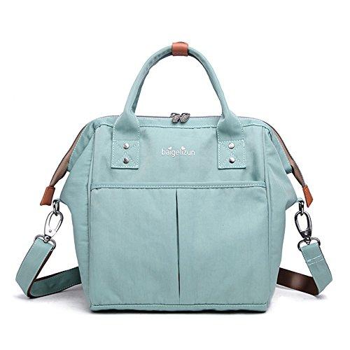Bolso portable del bebé de la madre, bolso de la momia, bolso de múltiples funciones de la madre, bolso, bolso de hombro ( Color : Blue wave point ) Verde