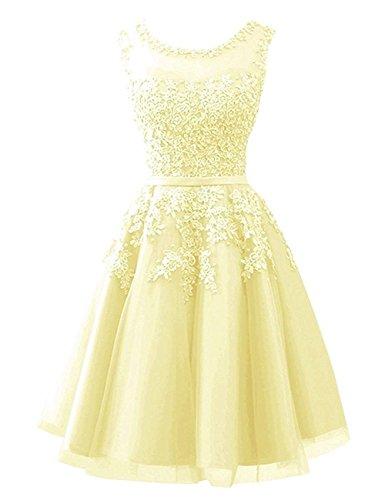 Amarillo Con Noche Regreso Cortos Vestidos Merrygirl Apliques A Prom De Cremallera Encaje Casa AS7nB