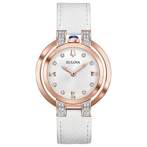 Ladies' Bulova Rubaiyat Diamond White Leather Strap Watch ()