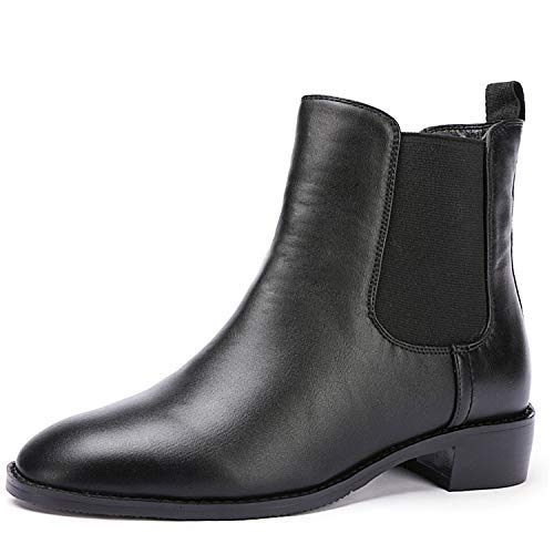 - Odema Women's Sahara PU Leather Chelsea Boots Low Heel Elastic Slip On Ankle Booties