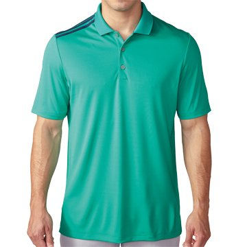 adidas Golf Men's Climacool 3-Stripes Polo Shirt, Shock Mint/Mineral Blue S, Small