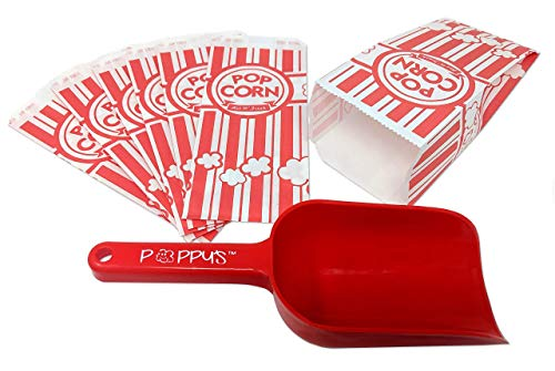 Poppys Popcorn Scoop and Carnival King Popcorn Bag Bundle, Includes Poppys Popcorn Scoop and 200 1-Ounce Carnival King Grease-Resistant Paper Popcorn Bags, Ideal for Parties-Events-Concessions