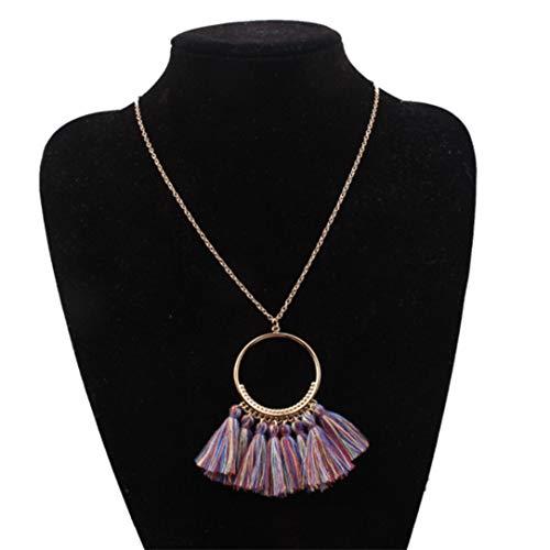 lehao Vintage Bohemian Tassel Pendant Necklace Thread Fringe Long Necklaces Pendants Charm Jewelry For Women,Sapphire color by lehao397 (Image #1)