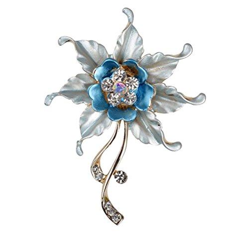 Flower Pin Pendant (SUMAJU Brooch Pins, Bouquet Pendant Charm Blue Flower Leaf Crystal Rhinestone Enamel)