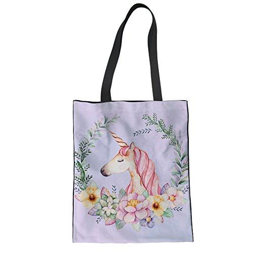 Shopping Tote CuMagical Unicorn Girls Women for 5 Canvas Unicorn Beach Bag Travel Handbag qHxpExz4