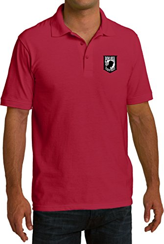 (Buy Cool Shirts Pow MIA Patch Pocket Print Mens Pique Polo, Red,)
