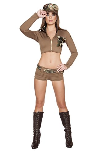 Roma Costume Women's 4 Piece Sexy Soldier Babe, Brown, Medium/Large (Sexy Soldier Costumes)