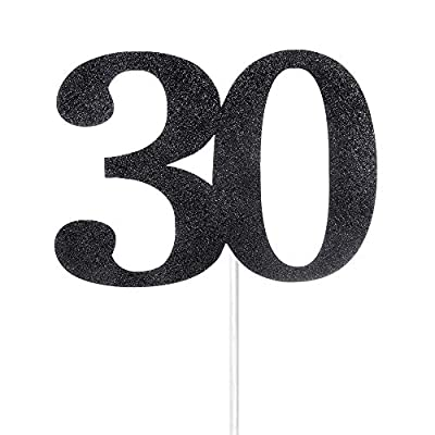 Black Glitter Number 30 Cake Topper - for 30th Birthday/Wedding Anniversary Party Decoration