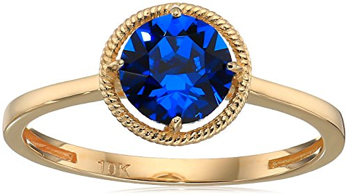 10k Gold Swarovski Crystal September Birthstone Ring, Size 6