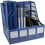 Flipco Multifunction Plastic Storage Hanger Section Divider File Paper Magazine Rack Holder Office Home Desktop Book Box Bookshelf 4 Section