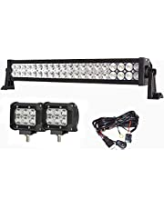 Simplive 24 Inch 120W 10-30V LED Light Bar Waterproof Off Road Led Light Flood Spot Combo Beam for SUV UTE ATV Truck with Free 2PCS 18W LED Work Lights and Wiring Harness