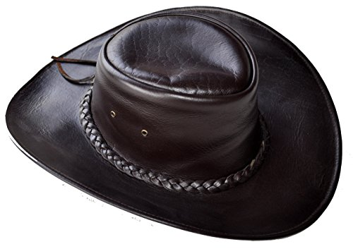 Western style handmade Leather Hat Brown Large
