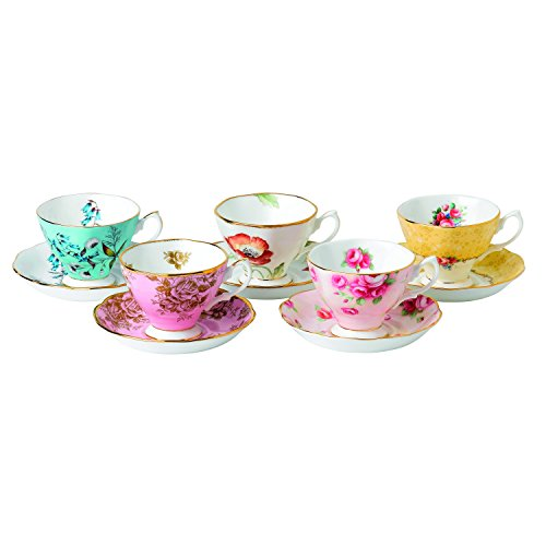 Antique Teacups And Saucers (Royal Albert 5 Piece 100 Years 1950-1990 Teacup & Saucer Set, Multicolor)
