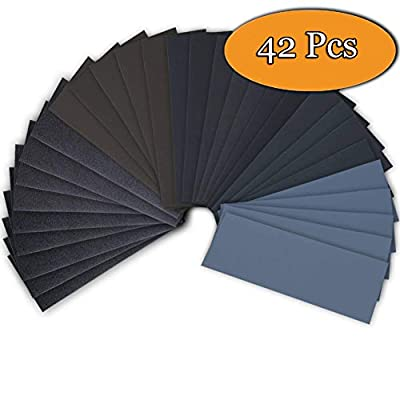 Sandpaper, 42-Sheet 120 To 3000 Assorted Grit Sandpaper Assortment for Wood Furniture Finishing, Metal Sanding and Automotive Polishing, Dry or Wet Sanding, 9 x 3.6 Inch