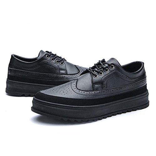 Men's Shoes Feifei Winter Leisure Thick Bottom Leather Shoes 3 Colors (Color : Black, Size : EU/41/UK7.5-8/CN42)
