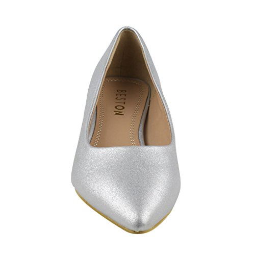 Beston Ja03 Womens Chic Gattino Tacco Basic Pumps Scarpe Da Festa Argento