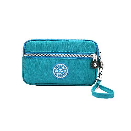 Handbag Purse Purple Waterproof Cell SUNRAY BUY Zipper Lake Pouch Blue Nylon Clutch Bag Layers Dual Phone Wristlet IfvX6