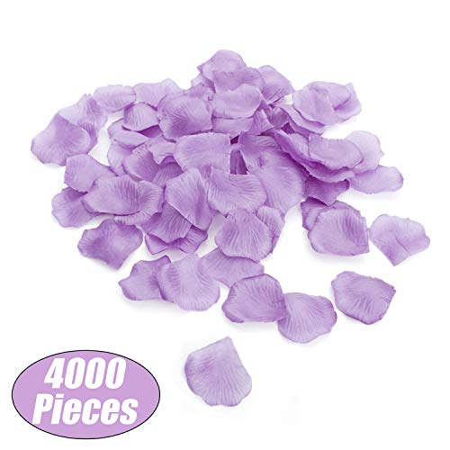 Aspire 4000 Pieces Silk Rose Petals, Artificial Flower Confetti for Wedding Party Gift Decoration-Lavender -