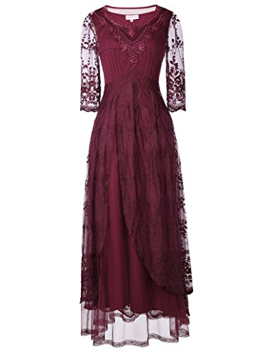 Steampunk Victorian Punk Prom Embroidery Maxi Lace Dress BP318-1 M Wine