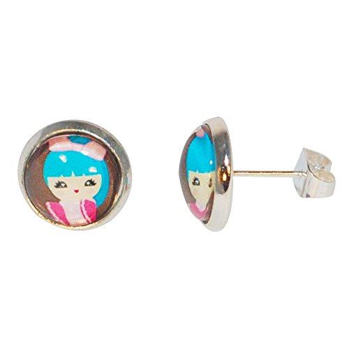Créative Perles - Boucles d'oreilles puce Enfant cabochon petite fille japonaise kokeshi Tsukiko - Marron
