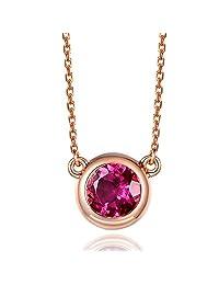 Fashion Vintage Round Cut 5mm Solid 14Kt Rose Gold Diamond Pink Tourmaline Gemstone Engagement Wedding Pendant Sets