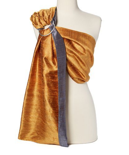 Hip Baby Wrap Dupioni Silk Ring Sling Baby Carrier for Infants and Toddlers (Fire Agate (gold/grey)) ()
