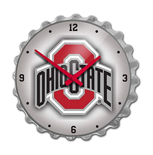 Shop Grimm The Ohio State University Large Bottle Cap Wall Clock Featuring The Buckeyes Primary Logo with Silver - Ohio State University Wall Clock
