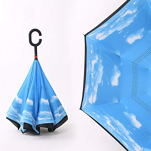 QIXIAOTING Double-Layer Reverse Umbrella , Men's and Women's Car with Long Handle Umbrella Blue Sky and White Clouds (Reverse Umbrella)