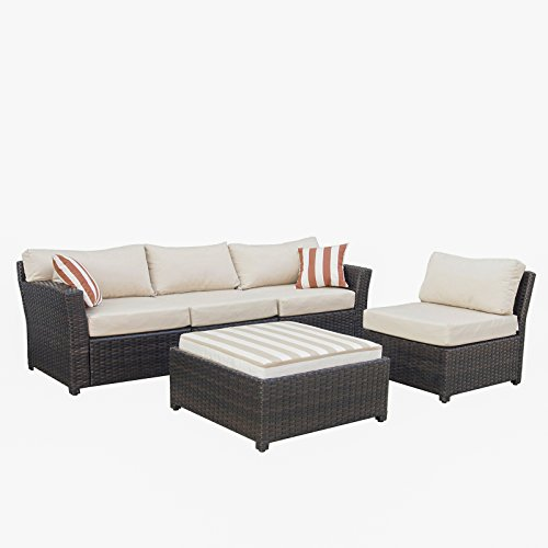 APARESSE 5 Piece Outdoor Garden Patio Furniture Rattan Wicker Sofa Sectional Set with Sunbrella Cushion, Beige ()