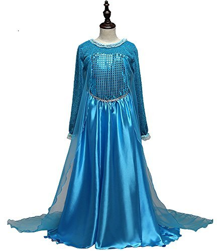 FE15 Disney Frozen Inspired Lace Elsa Costume Dress Girl Cosplay Party 4-12 (5/6 - 120) (Simple Disney Costumes)