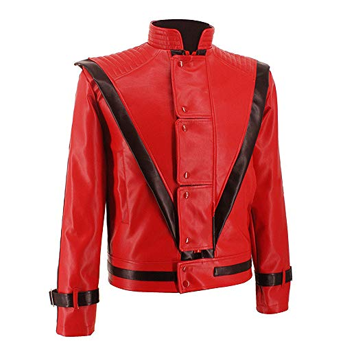 Michael Jackson Thriller Night Leather Jacket Rare Classic MJ Jacket Coat for Fans Costume Shows Jacket in 1980s Red (M) ()