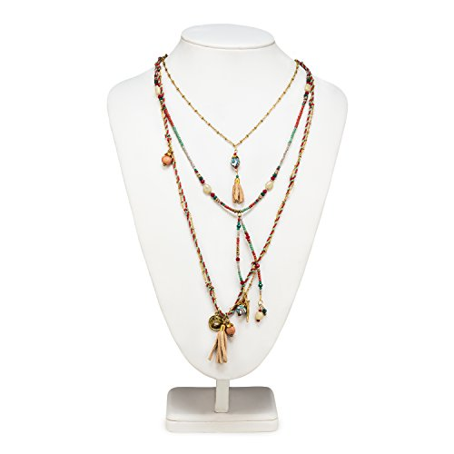 Abbott Collection 54-BOHO-NK-5017 3 Layer Necklace, Red/Turquoise ()